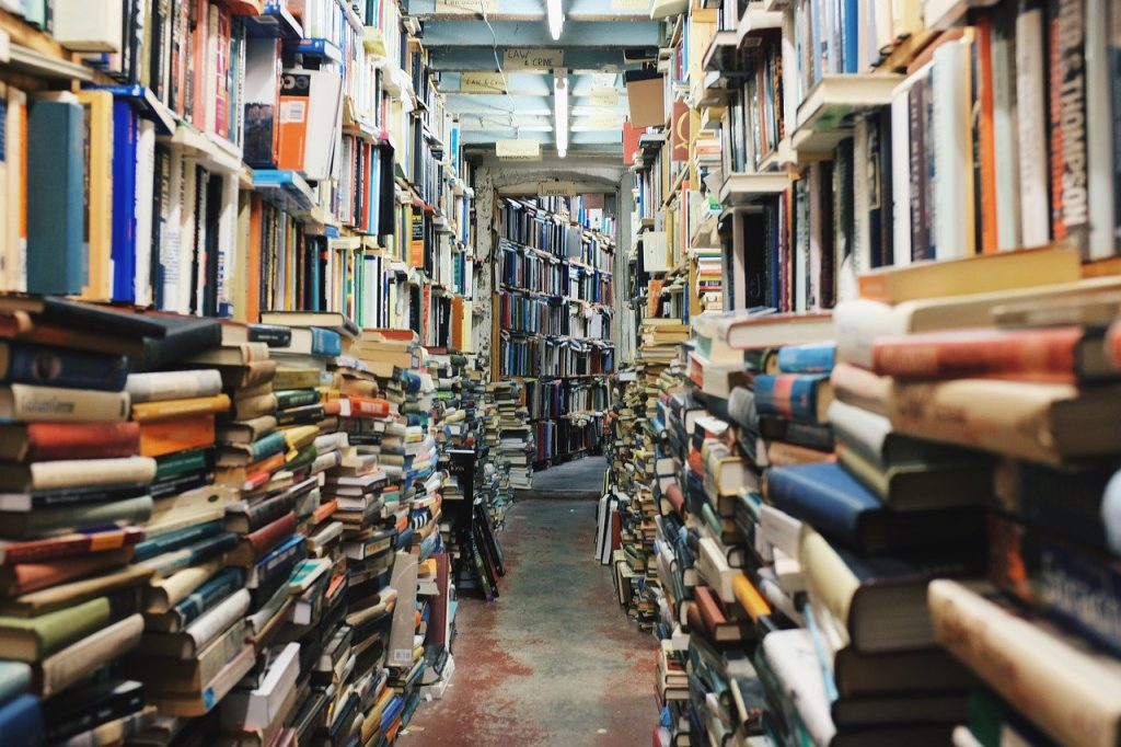 books, stack, library